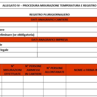 Registro misurazione temperatura in cantiere